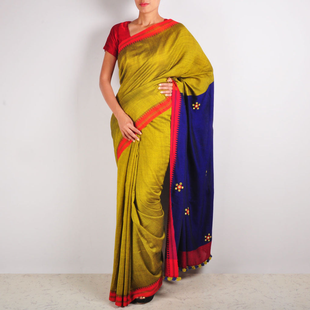 Mustard & Purple Cotton Sari by MEENAKARI