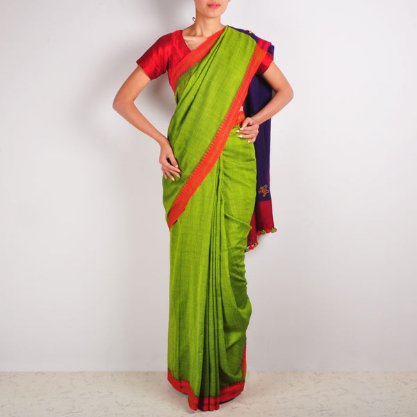Parrot Green Cotton Sari