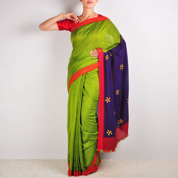 Parrot Green Cotton Sari by MEENAKARI