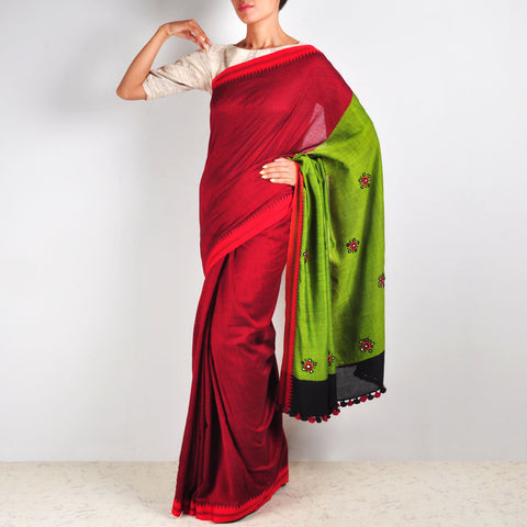 Maroon & Green Cotton Sari by MEENAKARI