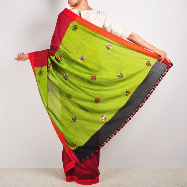 Maroon & Green Cotton Sari