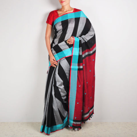 Grey & Black Striped Sari by MEENAKARI