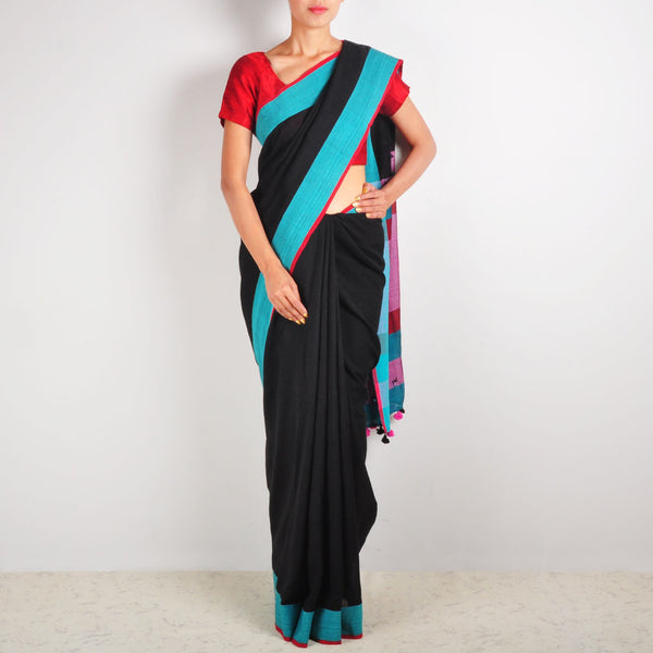 Black Cotton Sari