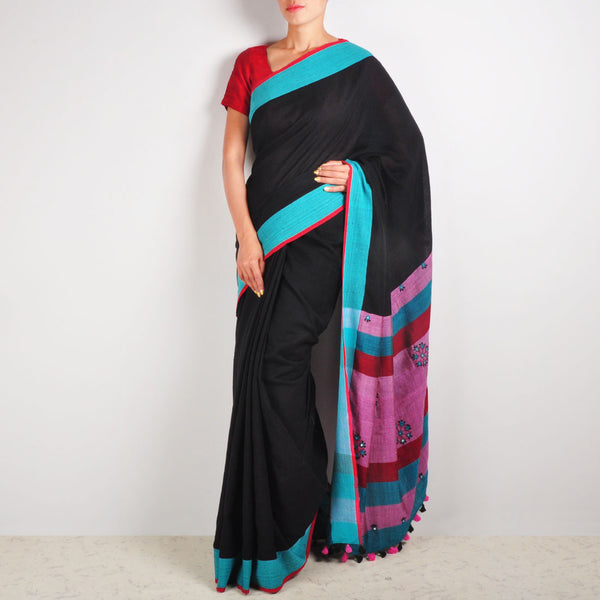 Black Cotton Sari by MEENAKARI