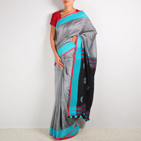 Grey Cotton Sari by MEENAKARI