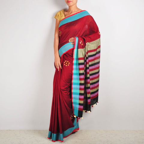 Maroon & Pink Cotton Sari by MEENAKARI