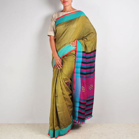 Green & Pink Cotton Sari by MEENAKARI