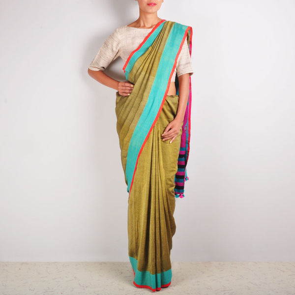 Green & Pink Cotton Sari