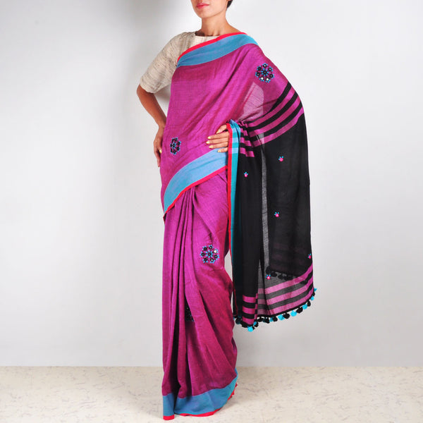 Gulal Pink Cotton Sari by MEENAKARI