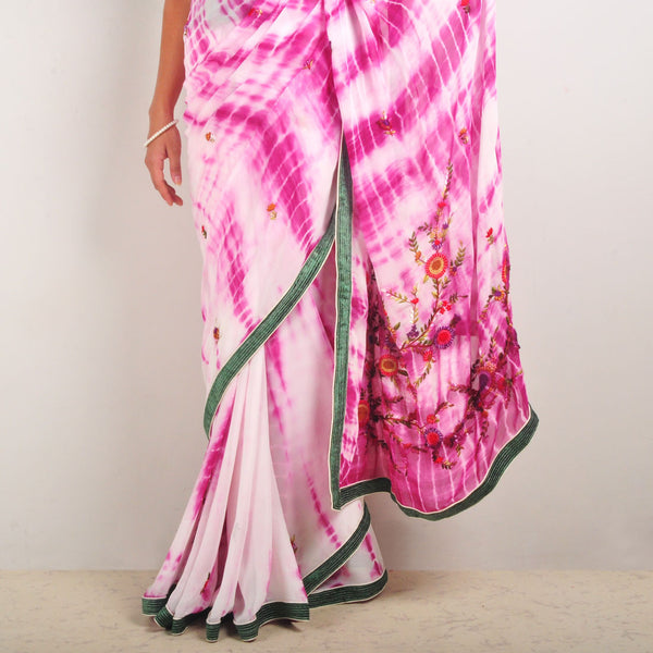 Tie-Dye Georgette Hand-Embroidered Saree