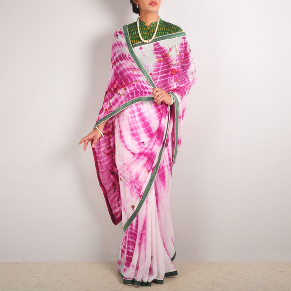 Tie-Dye Georgette Hand-Embroidered Saree by MEENAKARI