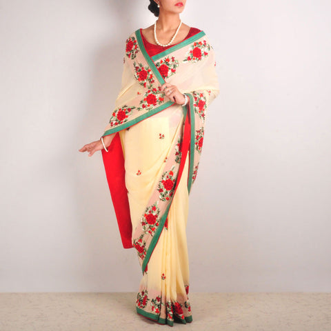 Georgette Hand-Embroidered Saree With Green Silk Piping by MEENAKARI