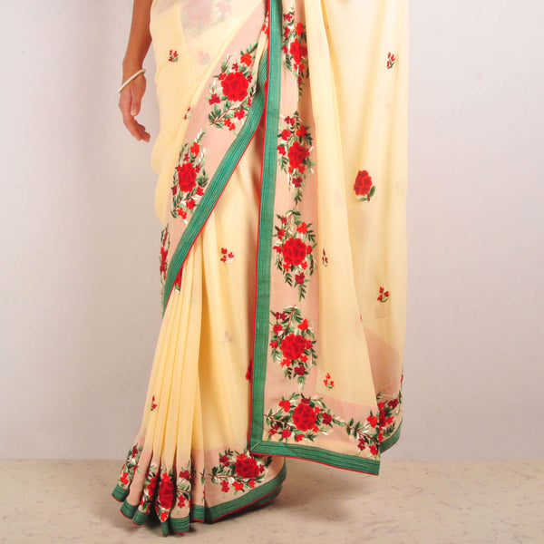 Georgette Hand-Embroidered Saree With Green Silk Piping