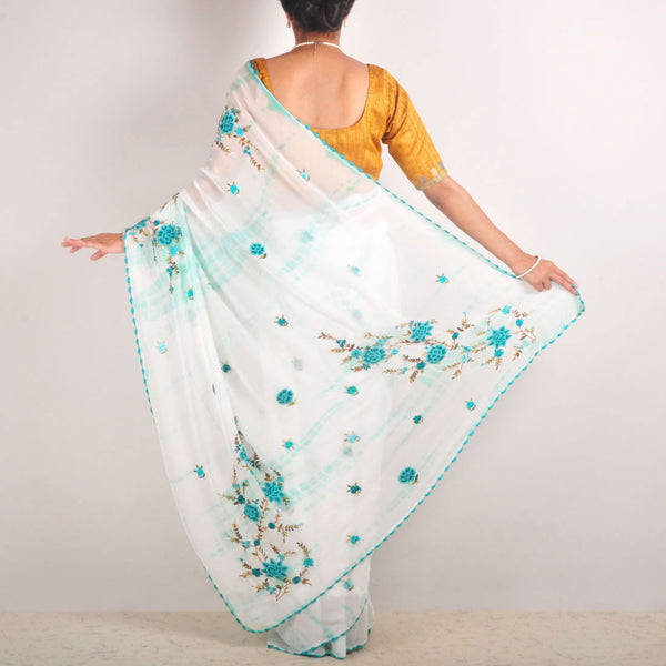 Tie-Dye Georgette Hand-Embroidered Saree With Crochet Lace Edging