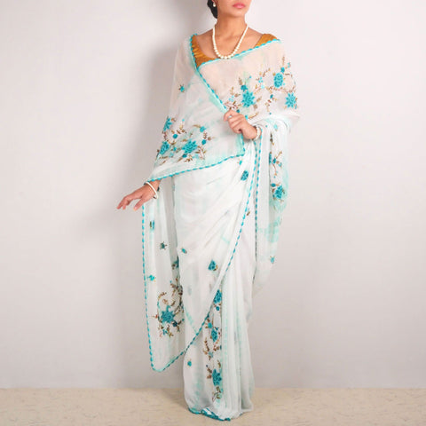 Tie-Dye Georgette Hand-Embroidered Saree With Crochet Lace Edging by MEENAKARI