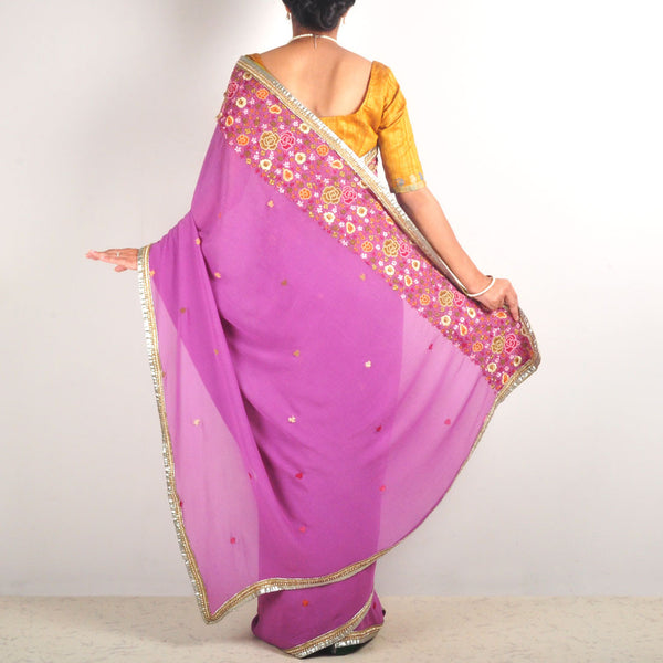 Silk Georgette Hand-Embroidered Saree With Zardozi Border