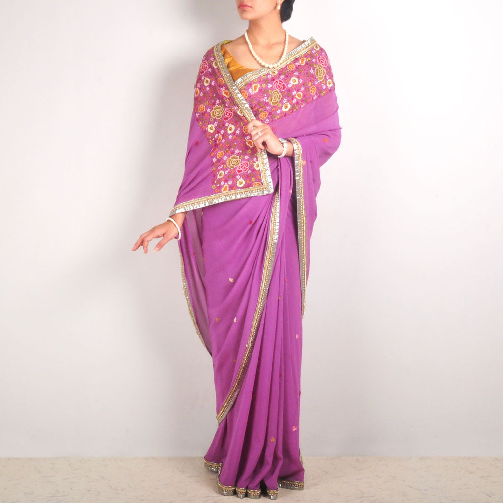 Silk Georgette Hand-Embroidered Saree With Zardozi Border by MEENAKARI