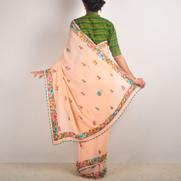 Silk Georgette Hand-Embroidered Sari With Butis