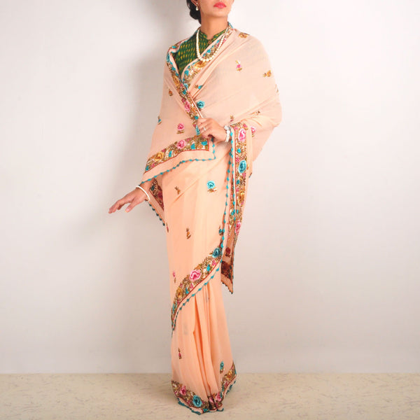 Silk Georgette Hand-Embroidered Sari With Butis by MEENAKARI
