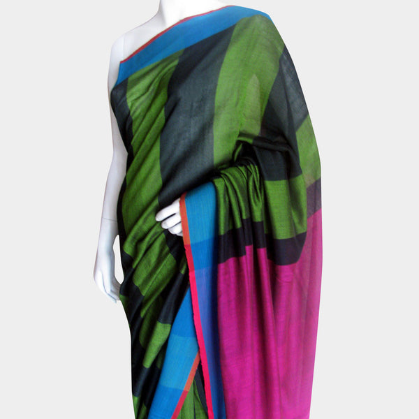 Striped Green Handwoven Cotton Sari