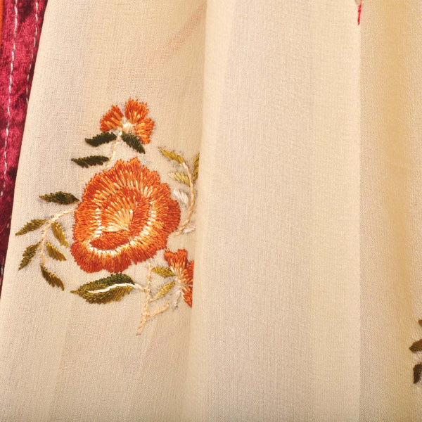Floral Silk Georgette Hand-Embroidered Saree With Velvet Border