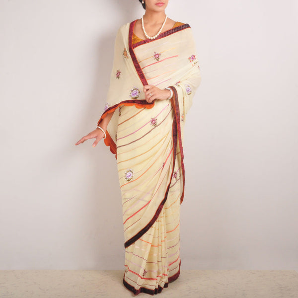 Floral Silk Georgette Hand-Embroidered Saree With Velvet Border by MEENAKARI