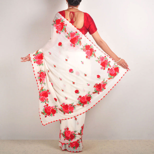 White Silk Georgette Embroidered Saree With Red Roses Border