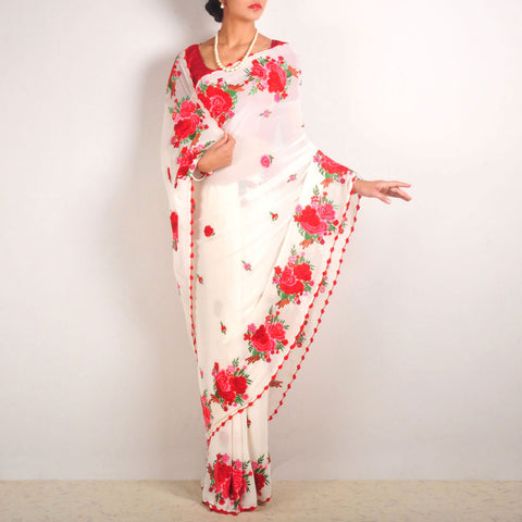 White Silk Georgette Embroidered Saree With Red Roses Border by MEENAKARI