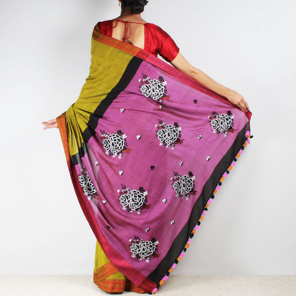 Lime Green Handwoven Cotton Embroidered Saree