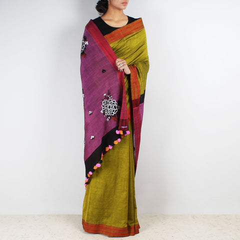 Lime Green Handwoven Cotton Embroidered Saree by MEENAKARI