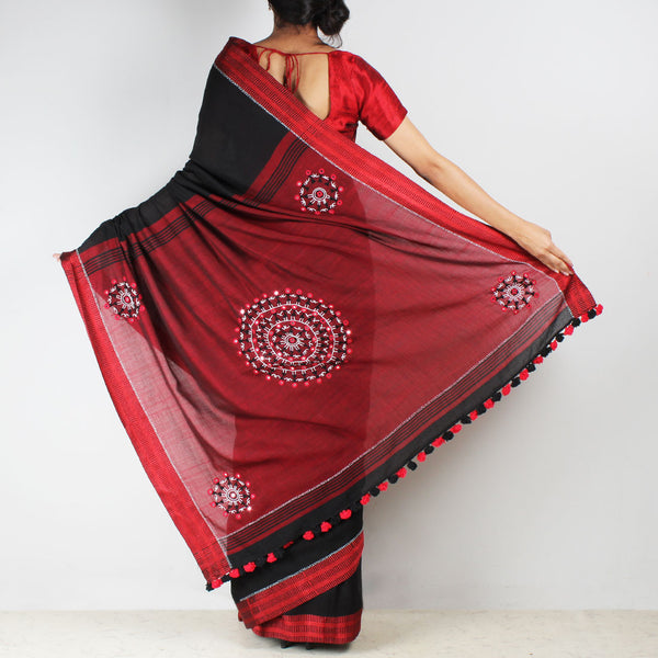 Black Handwoven Cotton Saree With Kantha Embroidered Pallu