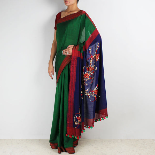 Green Handwoven Cotton Saree With French Embroidered Pallu