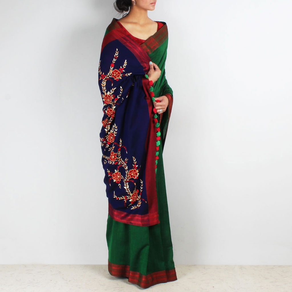Green Handwoven Cotton Saree With French Embroidered Pallu by MEENAKARI