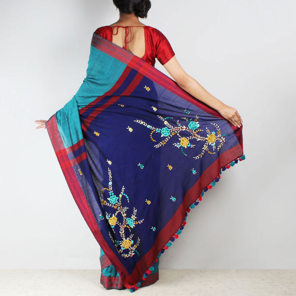 Sea Green Handwoven Cotton Saree With French Embroidered Pallu