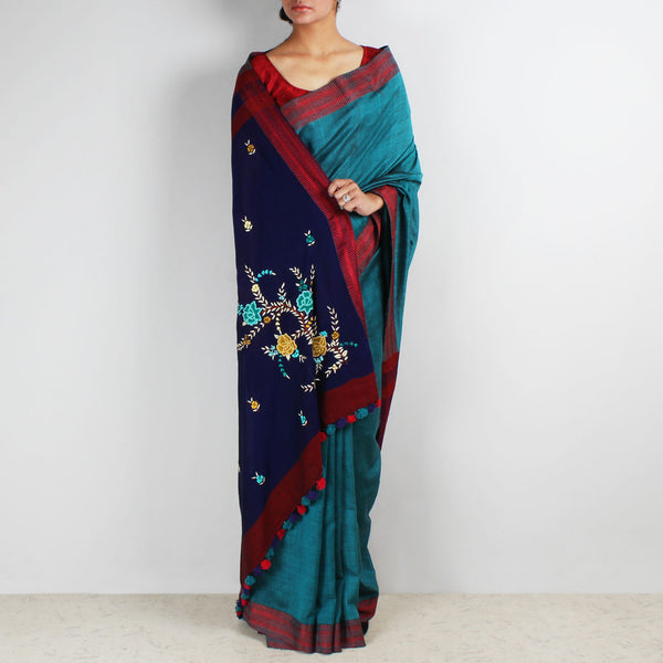 Sea Green Handwoven Cotton Saree With French Embroidered Pallu by MEENAKARI