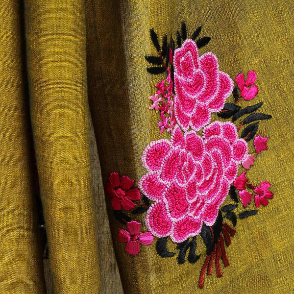 Pink Handwoven Cotton Saree With French Embroidery On Pallu