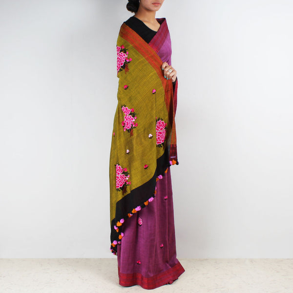 Pink Handwoven Cotton Saree With French Embroidery On Pallu by MEENAKARI