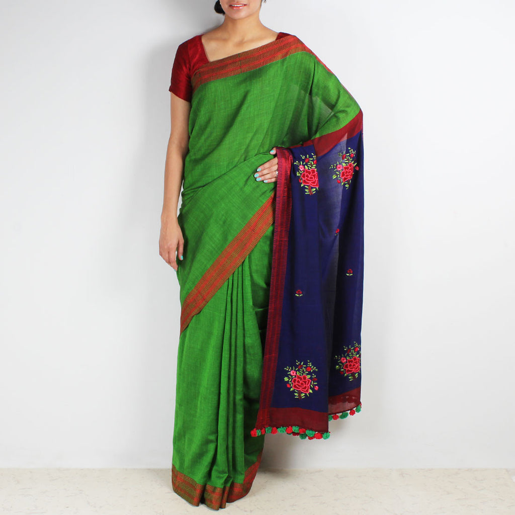 Handwoven Cotton Saree With French Floral Embroidered Pallu by MEENAKARI