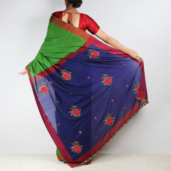 Handwoven Cotton Saree With French Floral Embroidered Pallu