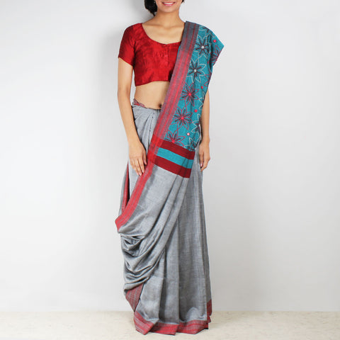 Grey Handwoven Cotton Saree With Kantha Embroidered Pallu by MEENAKARI
