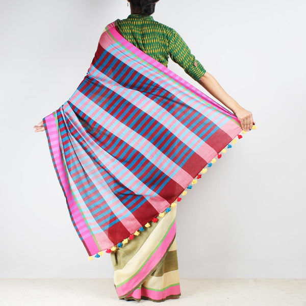 Yellow Striped Saree With Red And Blue Pallu