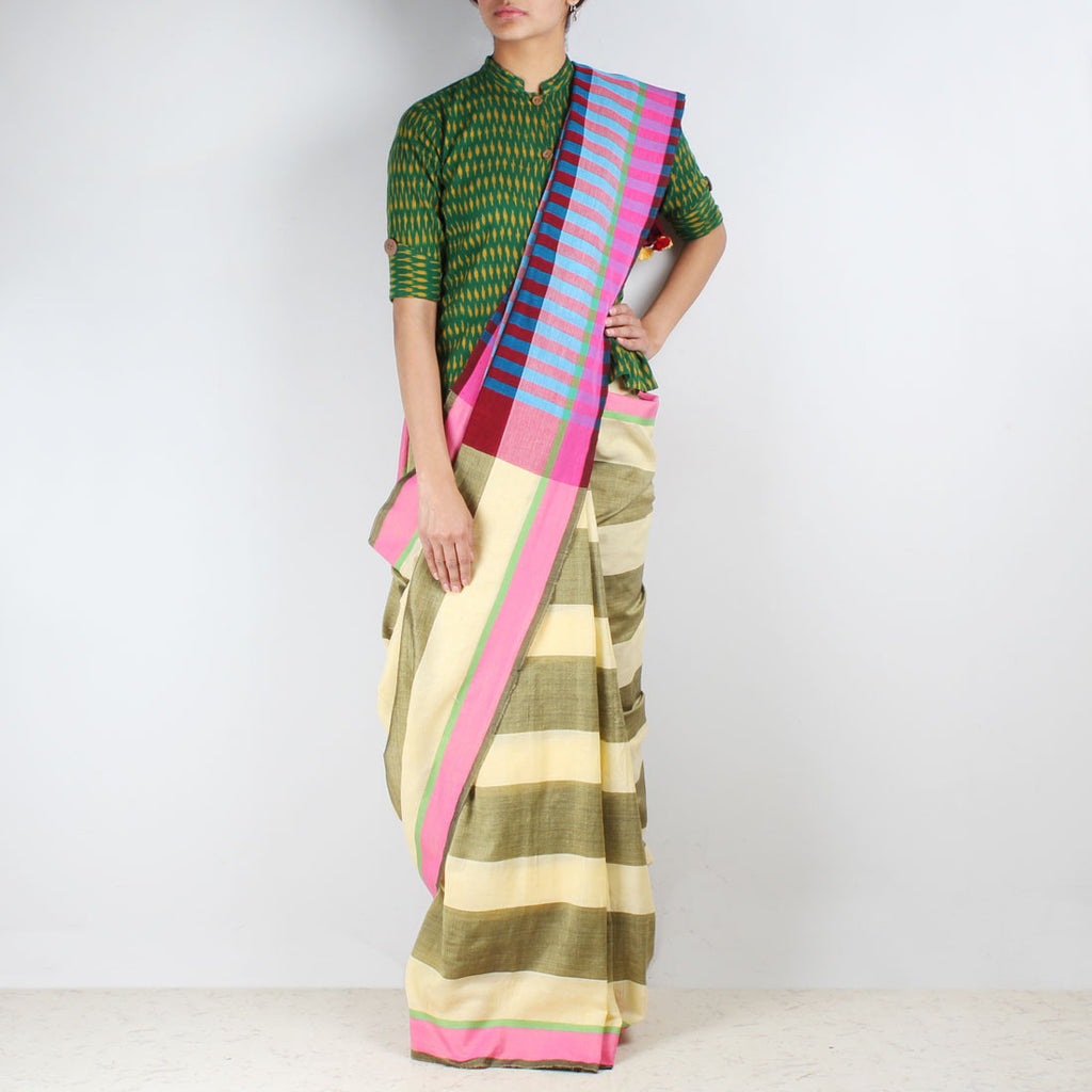 Yellow Striped Saree With Red And Blue Pallu by MEENAKARI