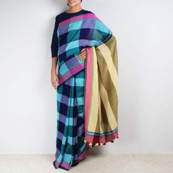 Blue Chequered Handwoven Cotton Saree