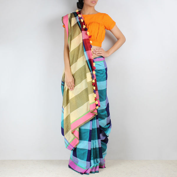 Blue Chequered Handwoven Cotton Saree by MEENAKARI