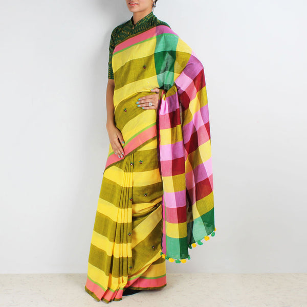 Yellow Striped Handwoven Cotton Saree