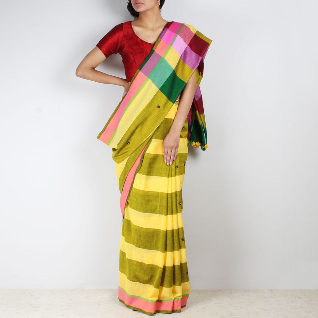 Yellow Striped Handwoven Cotton Saree by MEENAKARI