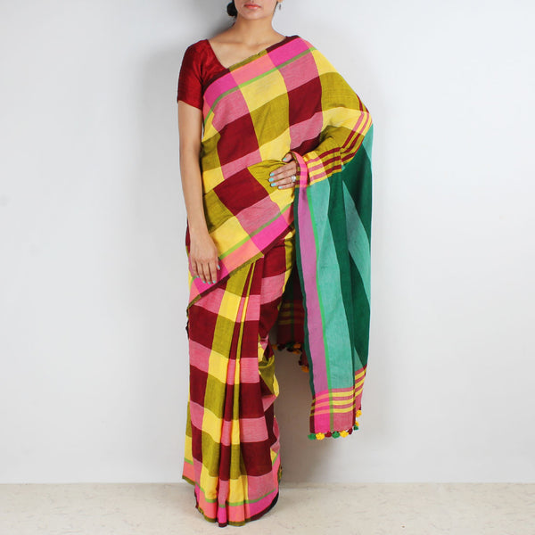 Multicoloured Handwoven Cotton Saree With Green Pallu