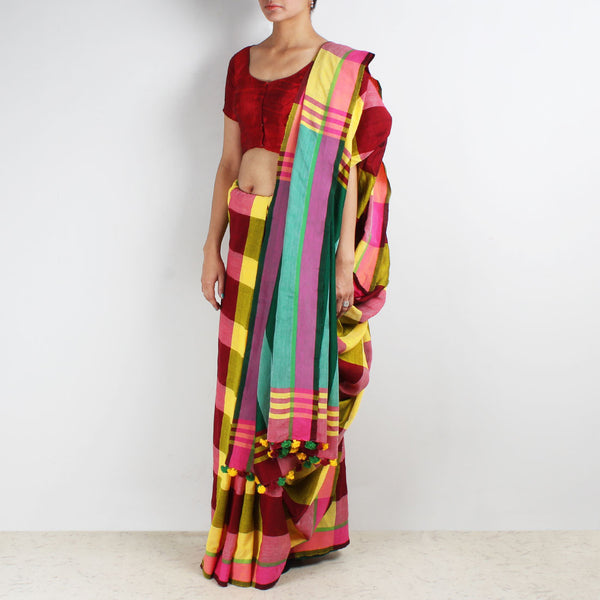 Multicoloured Handwoven Cotton Saree With Green Pallu by MEENAKARI