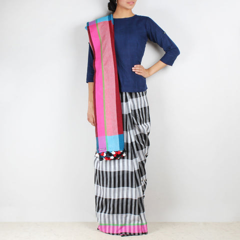 Black And White Striped Handwoven Cotton Saree by MEENAKARI