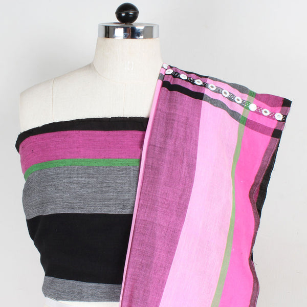 Pink Striped Handwoven Cotton Saree With Mirrorwork Pallu